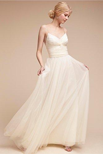 Tüll Langes V Lila Mädchen Ausschnitt Abendkleid für Kleid A Linie Rueckenfrei nv5qHHYawX