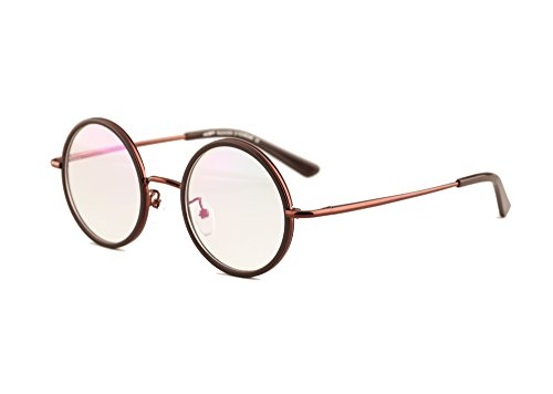 Agstum Vintage Retro Small Round Prescription Optical Eyeglass Frame 43mm (Coffee, 43mm)