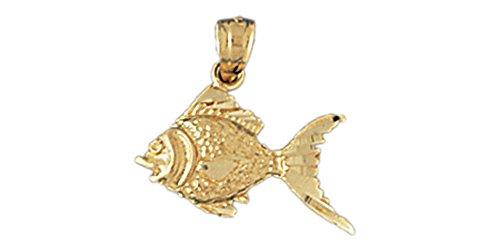 14K Yellow Gold Goldfish Pendant (17mm x 12mm)