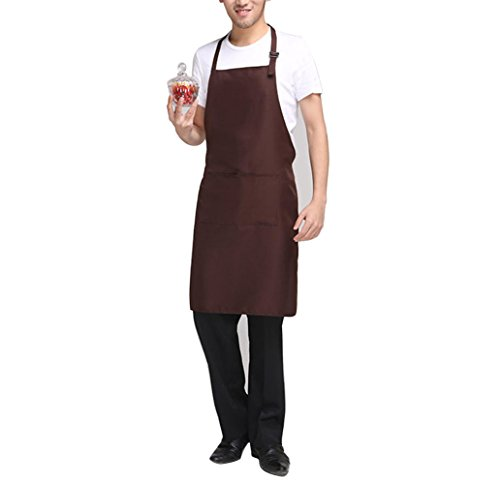 Daonanba Unisex Bib Apron for Women Men with Pockets Set of 2 Adjustable Neck Straps Household Gourmet Chef Home Aprons Machine Wash Couples Painters Beautician Workers Uniform (Brown)