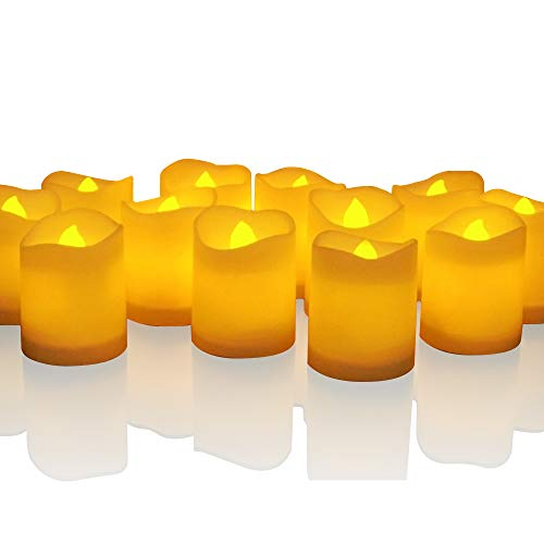 Novelty Place Longest Lasting Battery Operated Flickering Flameless LED Votive Candles (Pack of 12)]()