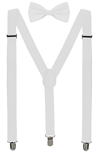 Volcanic Rock Mens Braces for Trousers Leather Suspenders and Bow Tie Set Elastic Adjustable Strong Clip-on Suspender (8009-White) (White Tie Set Bow)