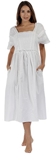The 1 for U Nightgown 100% Cotton Vintage Victorian Nightie - Amanda (Medium, White)