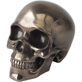 SUMMIT COLLECTION Decorative Bronze Colored Skull Head Skeleton Figurine Statue - Skull Skeleton Head