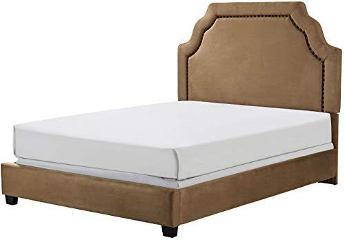 Crosley Furniture KF705009CM Loren Upholstered Platform Bed and Keystone Headboard, Queen, Camel Microfiber Domain Low Profile Bed