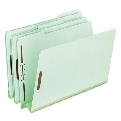 Pressboard Folders, 2 Fasteners, 3'' Expansion, 1/3 Tab, Legal, Green, 25/Box