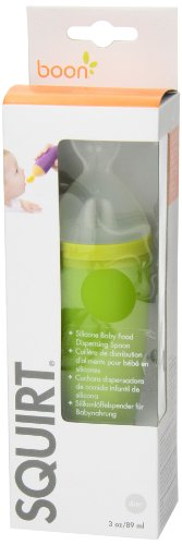 Boon Squirt Silicone Baby Food Dispensing Spoon,Green