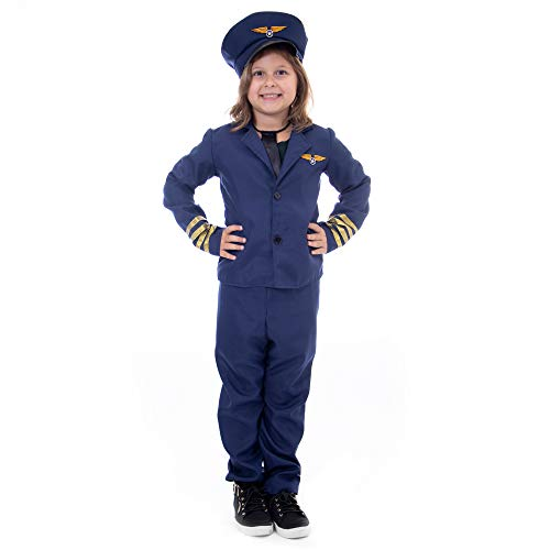Boo! Inc. Kids Airline Pilot Halloween Costume | Dress Up (7-9)