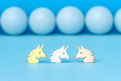 Solid Gold Unicorn Earrings 14k dainty 18k rose gold 0.0011 ()