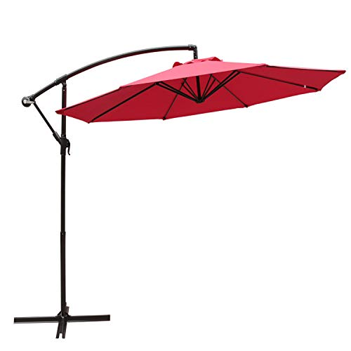 SUNSITT 10FT Patio Offset Cantilever Umbrella Outdoor Market Hanging Umbrella with Cross Base, Red