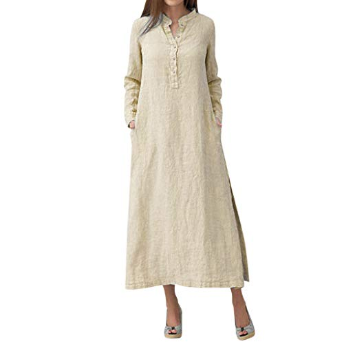 Shirt Dress,Caopixx Women's Boho Long Sleeve Caftan Plain Casual Loose Long Maxi Dress (Khaki, Asia Size 3XL) (Charming Stripe Collar)