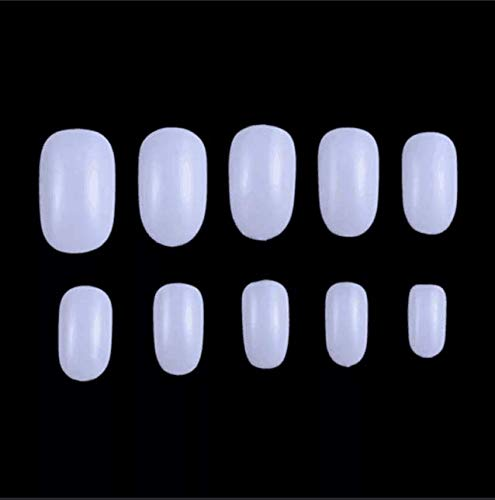 Fake Nails 1200pcs diy nail art 10 Sizes Fake Nails Short Oval Nails Round Nails Full Cover Artificial Glue On Nails Natural/Clear/White The acrylic nail (Oval White)