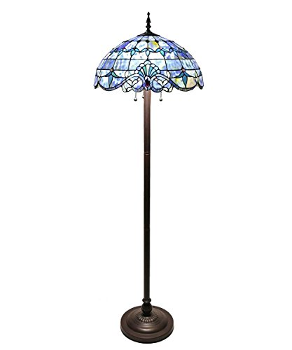 River of Goods 64-Inch Blue Allistar Tiffany Style Stained Glass (Baroque Stained Glass Table Lamp)