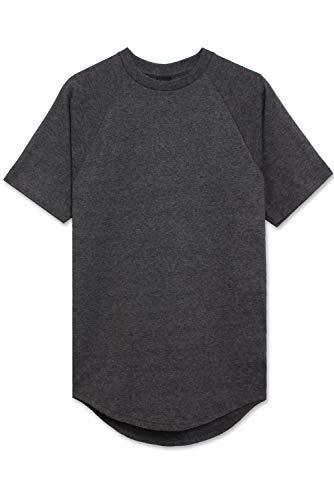 JC DISTRO Mens Hipster Hip Hop Cotton Elong Crewneck Raglan T-Shirt Charcoal Small