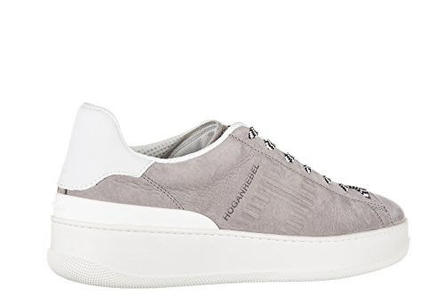 Hogan Rebel chaussures baskets sneakers homme en cuir pure 86 allacciato gris