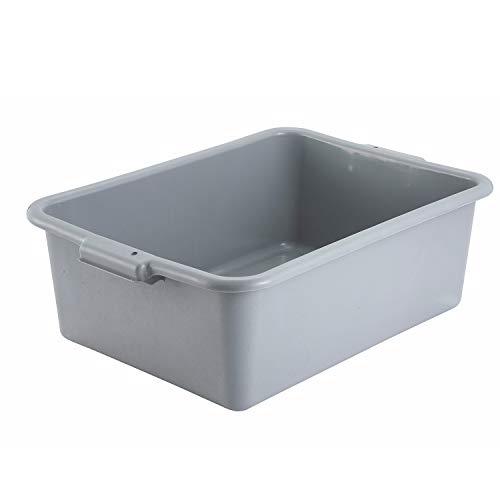 Winco Gray Polypropylene Dish Box 15 Inch x 21.5 Inch x 7 Inch High - Pack of 3