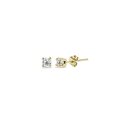 Yellow Gold Flashed Sterling Silver Cubic Zirconia 2mm Round Stud Earrings for Men Women -
