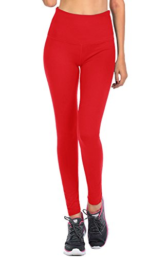 VIV Collection Signature Leggings Yoga Waistband Soft and Strong Tension w/Hidden Pocket (XXL, - Red Collection