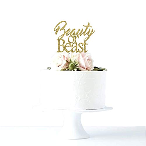 Beauty or Beast Beauty and the Beast Themed Gender Reveal Baby Shower Glitter Cake Topper