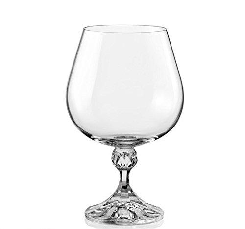 Bohemia Crystal''Julia'' Crystal Brandy/Cognac Glasses, Set of 6, 400 ml (13.5 ounces), Clear by Bohemia Crystal