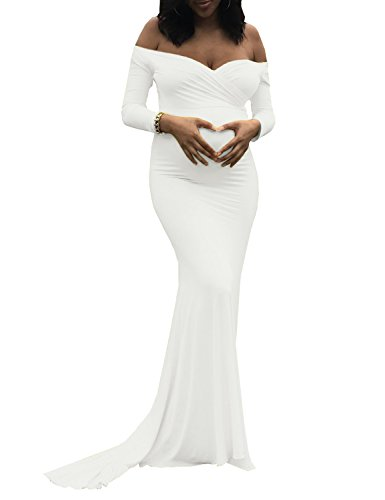 Saslax Women's Off Shoulders Sweetheart Neckline Long Sleeves Maternity Slim Fit Gown for Photography Dress Off White M