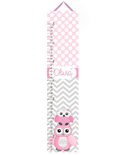 Toad and Lily Canvas GROWTH CHART Pink Gray Owl Zig Zag Chevron Girls Bedroom Baby Nursery Wall Art GC0021