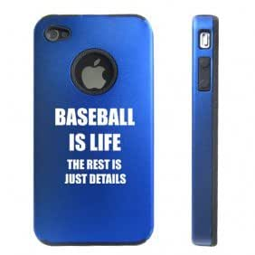 Apple iPhone 4 4S Blue D4427 Aluminum & Silicone Case Cover Baseball is Life