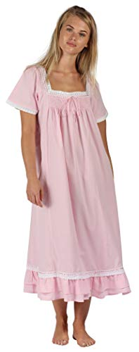 The 1 for U 100% Cotton Short Sleeve Nightgown - Evelyn (Large, Pink)