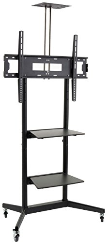 Displays2go TVJT320ND2 Mobile TV Cart with Height Adjustable, 2 Display Shelves and Locking Wheels for 40 to 80-Inch Flat Screen Monitors