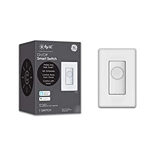 GE Lighting 93105002 C by GE On/Off Button Style Works with Alexa + Google Home Without Hub, Single-Pole/3-Way Replacement Smart Switch, White