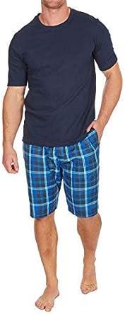 Hombre Pijama Top Manga Corta Camiseta /& Tejido Shorts