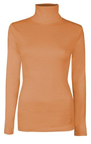Brody & Co - Camiseta de manga larga y cuello alto para mujer, térmica, algodón melocotón