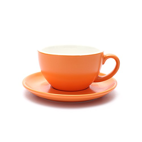 - Coffeezone Americano Cup and Saucer Latte Art & Cappuccino for Barista (Matte Orange, 8.5 oz)