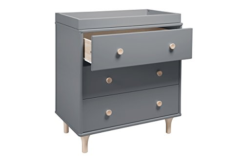 Babyletto Lolly 3-Drawer Changer Dresser with Removable Changing Tray, Grey / Washed Natural