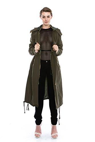 JEZEEL Daisy Women's Zipper Pocket Detail Hooded Long Waterproof Jacket. (L, Dark -