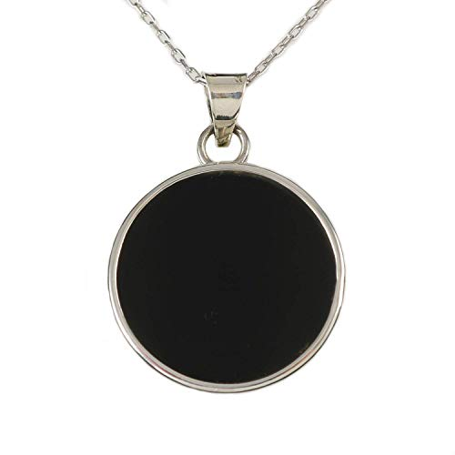 Sterling Silver Round Flat Natural Black Onyx Gemstone Handmade Pendant Necklace 16+2 inches -