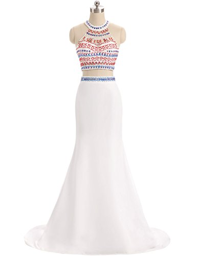 YIRENWANSHA Sexy Halter Beaded Two Pieces Homecoming Dress Plus Size Manual Satin Empire Waist Mermaid Evening Gowns for Women Long Full Length Unique Back Formal YL21 White Size 26W