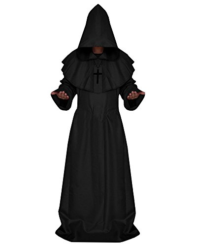 Ermonn Unisex Wizard Costume Halloween Cosplay Full Length Hooded Robe (Necromancer Costume Halloween)