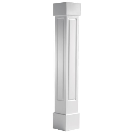 """Endura-Craft Craftsman Column Wrap (Cellular PVC), Non-Tapered, Raised Panel, Standard Base & Capital, 6"""" Square Shaft x 5' Overall Height"""