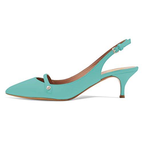 XYD Women Pointed Toe Mid Kitten Heel Slingback Sandal Pumps Slip On Patent Satin Dress Shoes Size 8.5 Aquamarine-PU