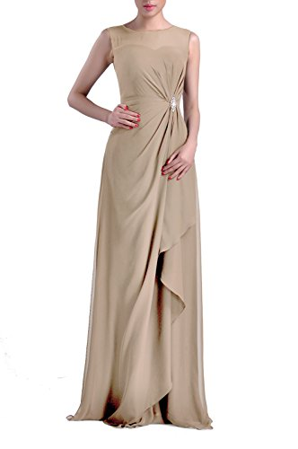 Long Chiffon Dress Champagne Natrual Straps Bateau Women's Sheath Adorona Sleeveless pqO0q