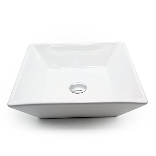 Ainfox Vessel Sink Vanity Bowl Ceramic, Pop-up Drain White Square for Bathroom by Ainfox