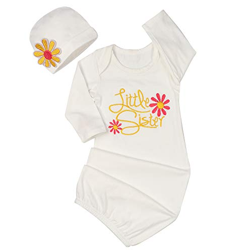 Newborn Infant Baby Floral Little Sister Nightgowns Hat Outfits, Coming Home Sleepwear Sleeper Gown Swaddle Outfits