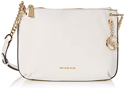 Michael Kors Lillie Pebble Leather Crossbody (Optic White) (Michael Kors White Sandals)