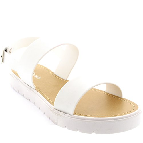 Womens Jelly Slingback Cleated White Sole Beach Flatform Open Toe Sandal - White - 7 - 38 - CD0274 (Flatform Jelly Sandals compare prices)