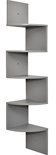 (Greenco 5 Tier Wall Mount Corner Shelves Gray Finish)