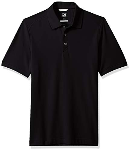 Cutter & Buck Men's 35+UPF, Short Sleeve Cotton+ Advantage Polo Shirt, Black, X-Large