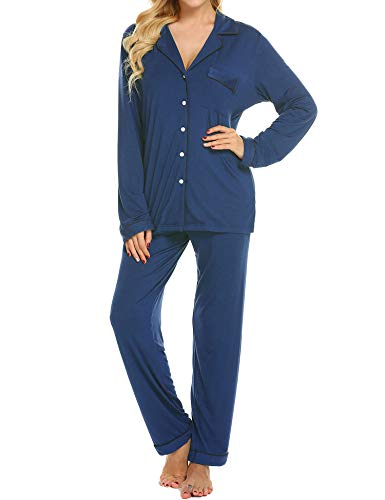 Ekouaer Women's Long Sleeve Sleepwear Plus Size Pajamas Cotton Lounge Set (Blue,XXL)