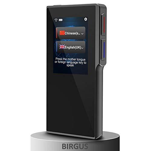 [Upgraded] Birgus Smart Voice Translator Device with 2.4 Inch High Definition Toch Screen Support 82 Languages for Travelling Abroad Learning Off-Line Shopping Business Chat Recording Translations (Best Voice Translator App)