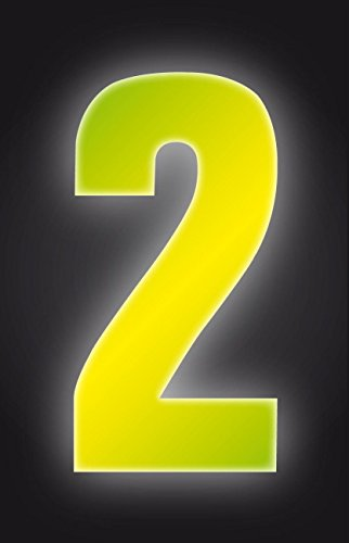 Self Adhesive Wheelie Bin Numbers 17cm - 2 - High Visibility Yellow Classic Sign & Design